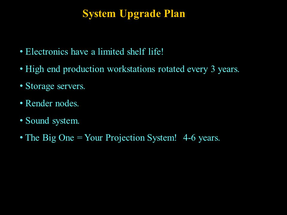 Production and Editing Software Just like equipment, software gets out-of-date and should be updated on a planned schedule.