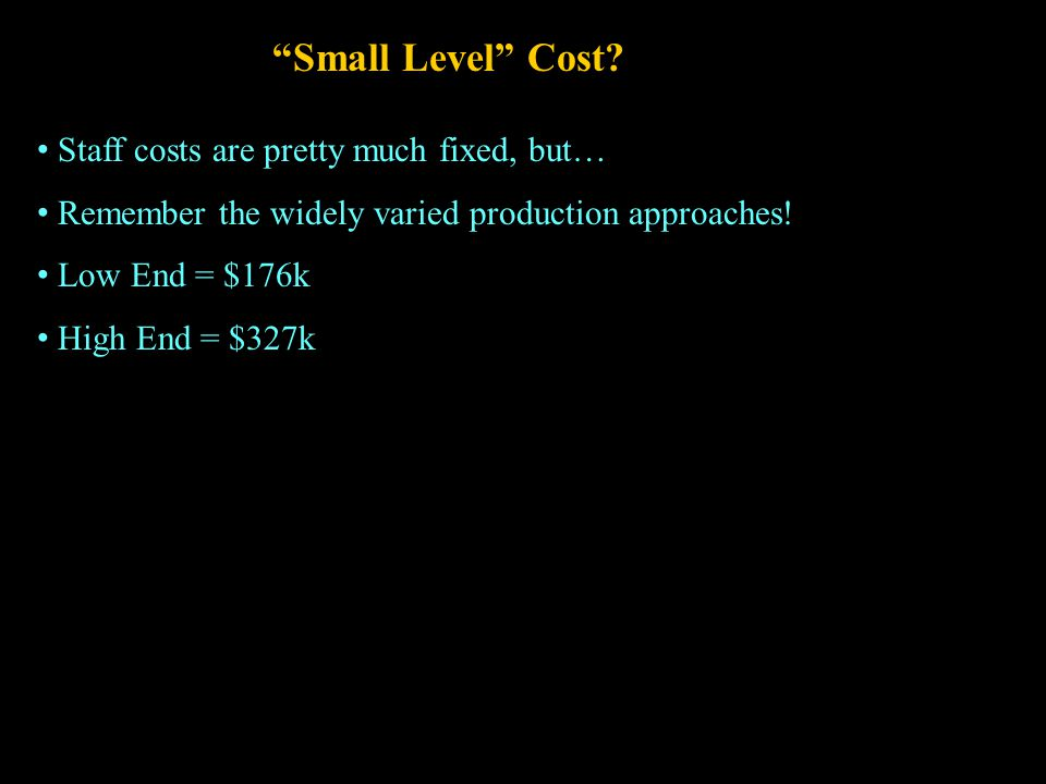 Small Level Cost.