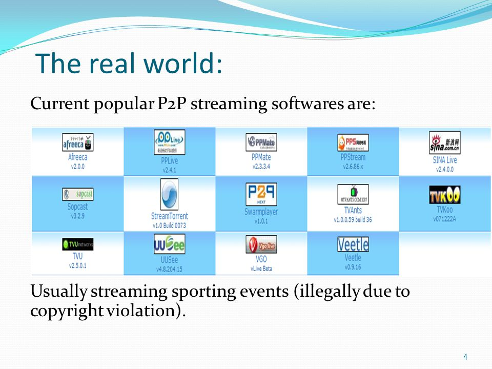 The real world: Current popular P2P streaming softwares are: Usually streaming sporting events (illegally due to copyright violation).