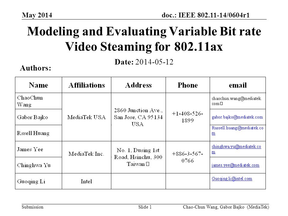 doc.: IEEE 802.11-14/0604r1 Submission May 2014 Slide 1 Modeling and Evaluating Variable Bit rate Video Steaming for 802.11ax Date: 2014-05-12 Authors: Chao-Chun Wang, Gabor Bajko (MediaTek)