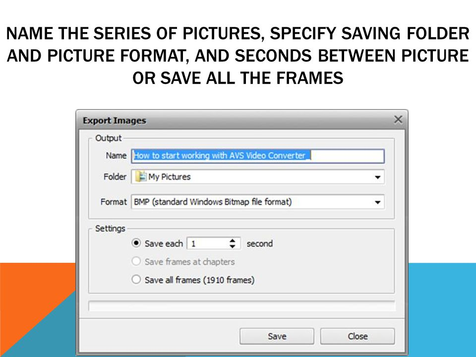 NAME THE SERIES OF PICTURES, SPECIFY SAVING FOLDER AND PICTURE FORMAT, AND SECONDS BETWEEN PICTURE OR SAVE ALL THE FRAMES