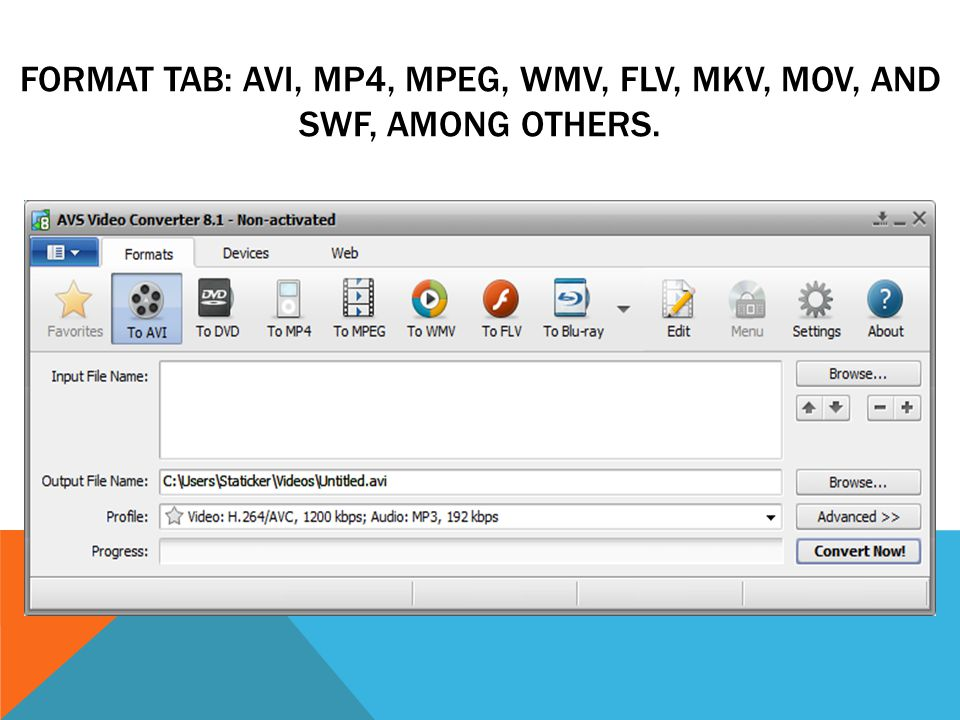 FORMAT TAB: AVI, MP4, MPEG, WMV, FLV, MKV, MOV, AND SWF, AMONG OTHERS.