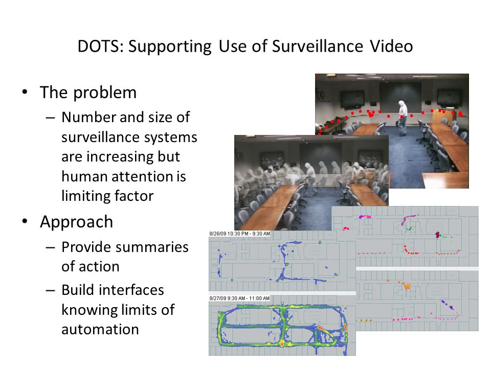 DOTS: Supporting Use of Surveillance Video The problem – Number and size of surveillance systems are increasing but human attention is limiting factor