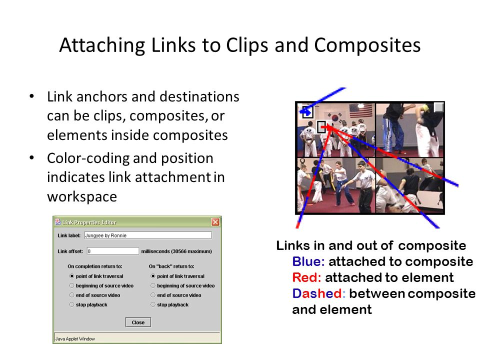 Attaching Links to Clips and Composites Link anchors and destinations can be clips, composites, or elements inside composites Color-coding and position indicates link attachment in workspace Links in and out of composite Blue: attached to composite Red: attached to element Dashed: between composite and element