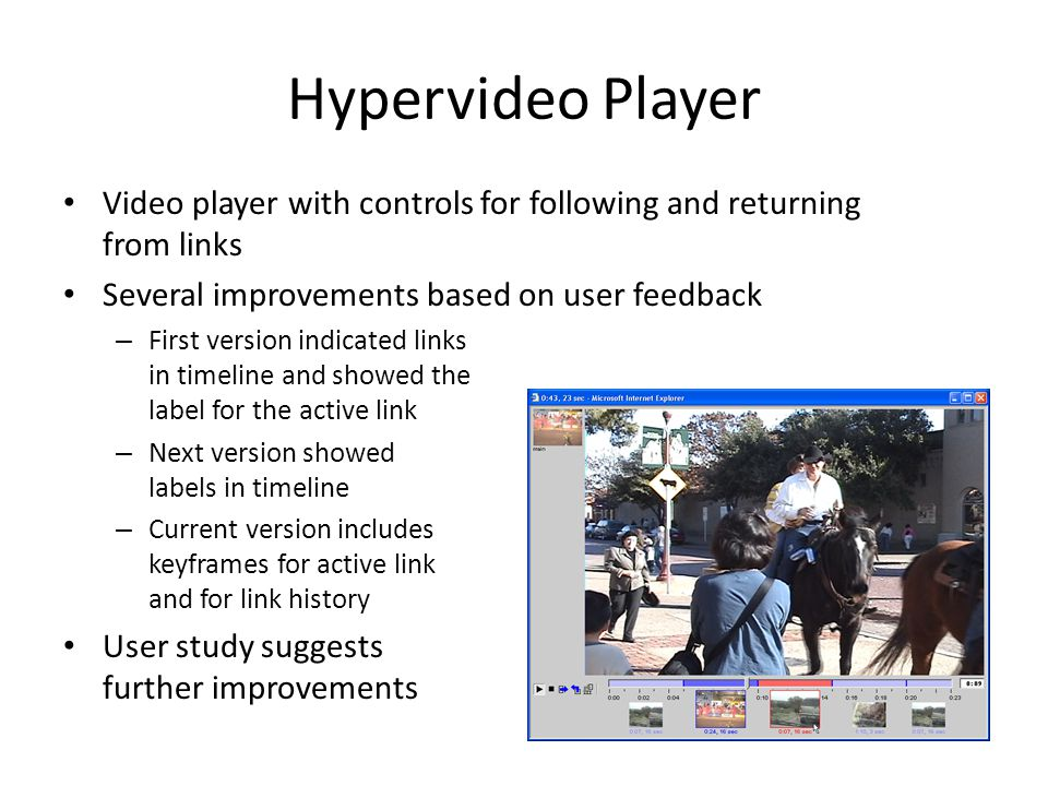 Hypervideo Player Video player with controls for following and returning from links Several improvements based on user feedback – First version indica