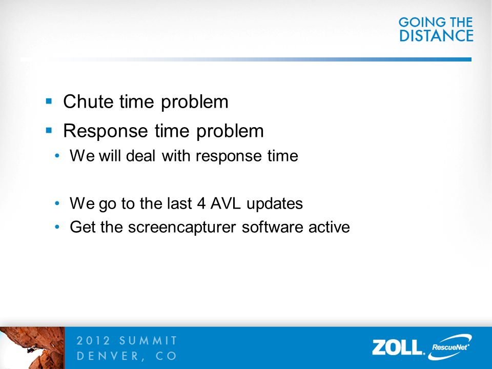  Chute time problem  Response time problem We will deal with response time We go to the last 4 AVL updates Get the screencapturer software active