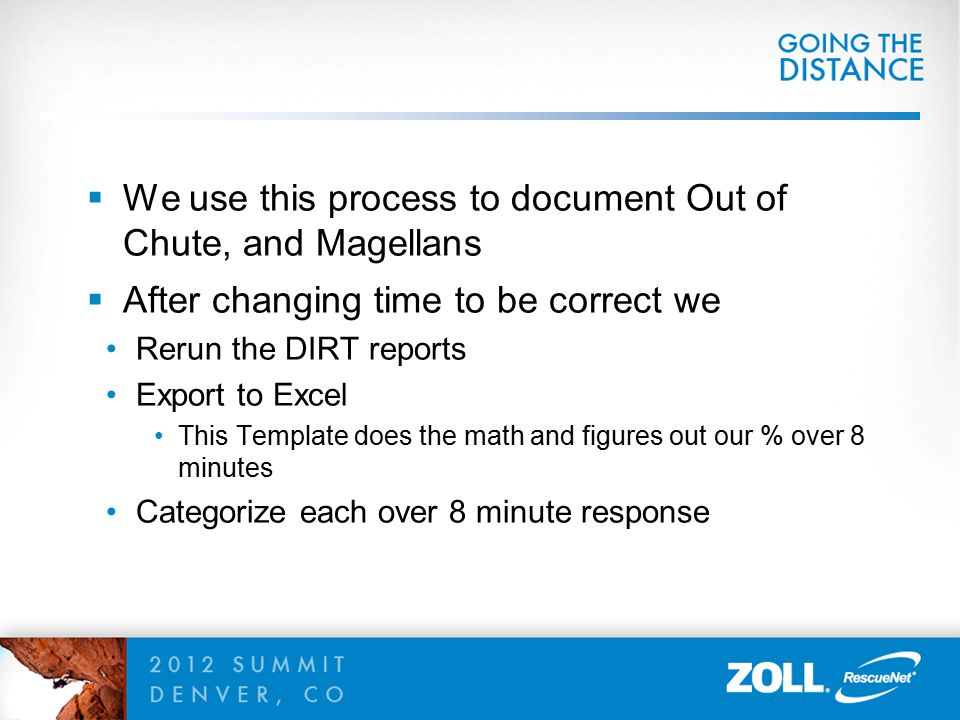  We use this process to document Out of Chute, and Magellans  After changing time to be correct we Rerun the DIRT reports Export to Excel This Templ