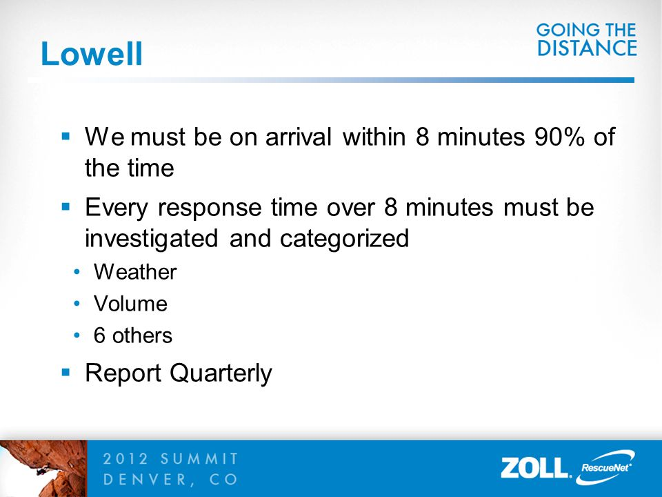 Lowell  We must be on arrival within 8 minutes 90% of the time  Every response time over 8 minutes must be investigated and categorized Weather Volu