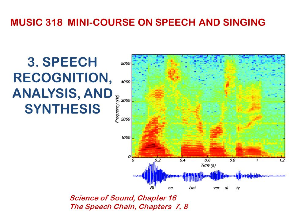 3. SPEECH RECOGNITION, ANALYSIS, AND SYNTHESIS MUSIC 318 MINI-COURSE ON SPEECH AND SINGING Science of Sound, Chapter 16 The Speech Chain, Chapters 7,