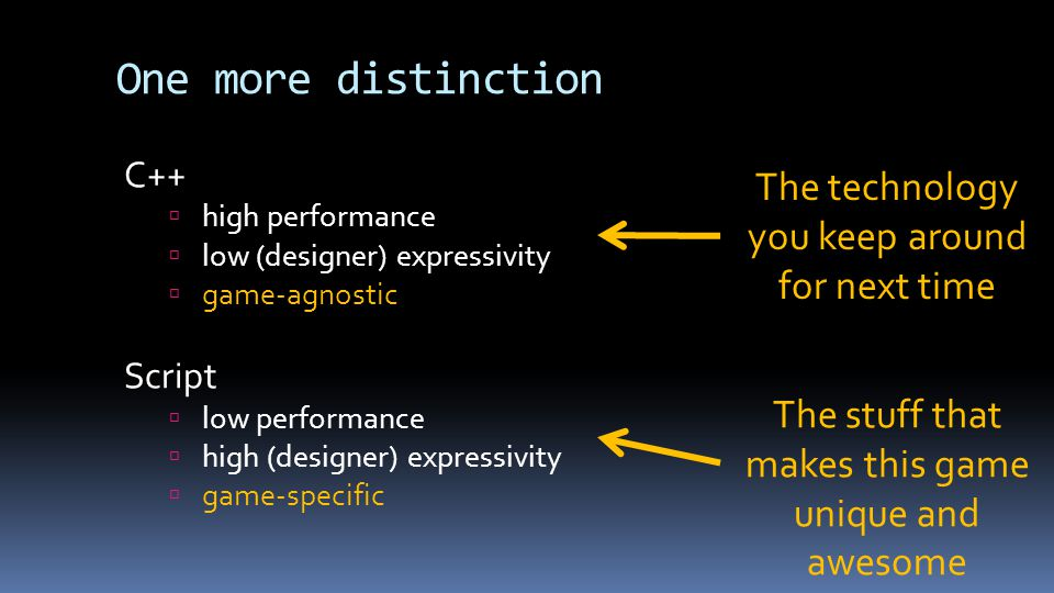 One more distinction C++  high performance  low (designer) expressivity  game-agnostic Script  low performance  high (designer) expressivity  game-specific The technology you keep around for next time The stuff that makes this game unique and awesome