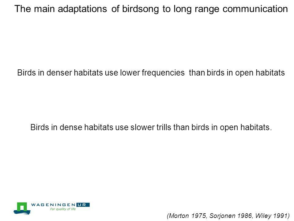 Environmental constraints on communication Sound transmission characteristics Environmental noise