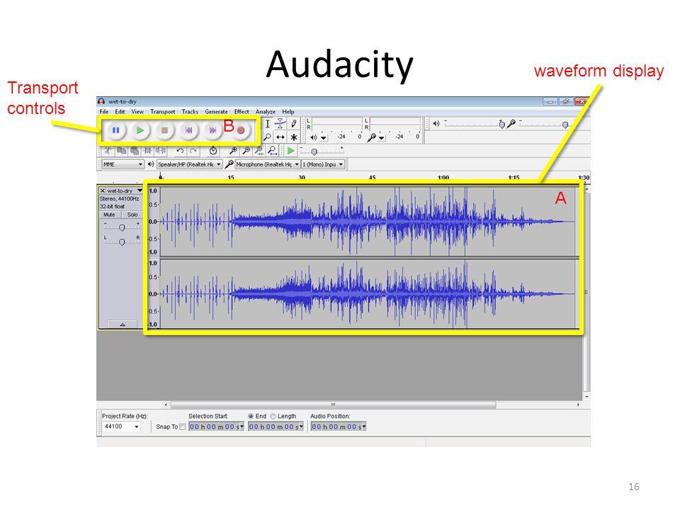 Audacity 16 Transport controls waveform display