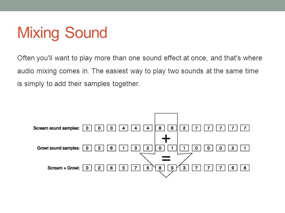 Mixing Sound Often you'll want to play more than one sound effect at once, and that's where audio mixing comes in. The easiest way to play two sounds