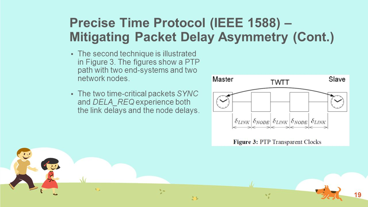Precise Time Protocol (IEEE 1588) – Mitigating Packet Delay Asymmetry (Cont.)  The second technique is illustrated in Figure 3.