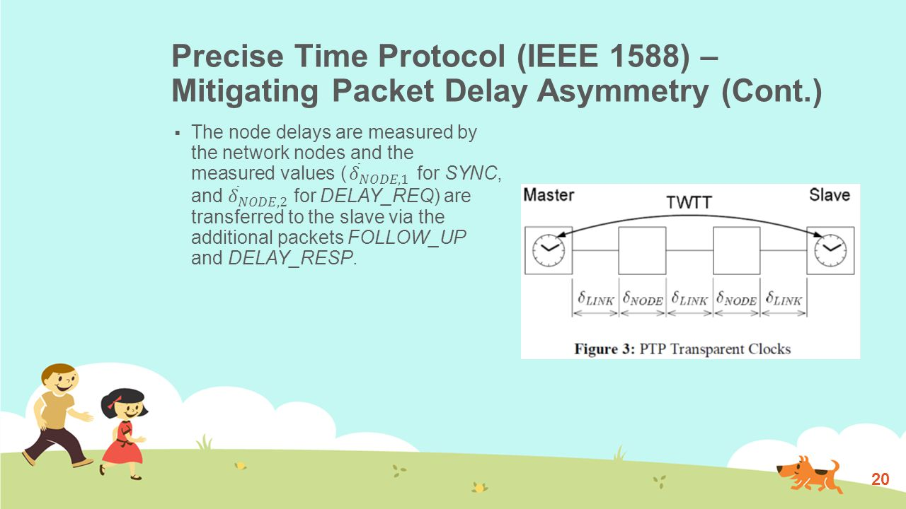 Precise Time Protocol (IEEE 1588) – Mitigating Packet Delay Asymmetry (Cont.) 20