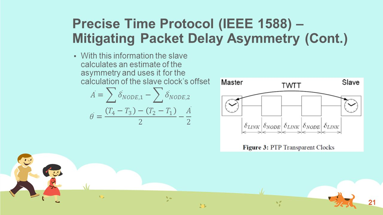 Precise Time Protocol (IEEE 1588) – Mitigating Packet Delay Asymmetry (Cont.) 21