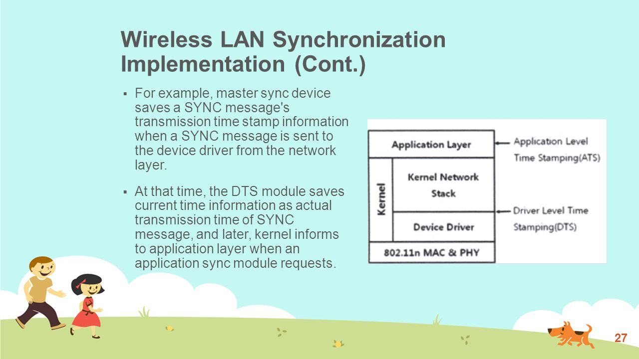 Wireless LAN Synchronization Implementation (Cont.)  At the slave side, when the SYNC message is received by slave s wireless interface, it is transferred from device driver to network layer.