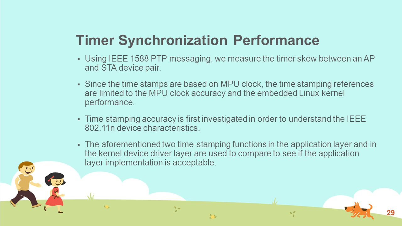 Timer Synchronization Performance  Using IEEE 1588 PTP messaging, we measure the timer skew between an AP and STA device pair.