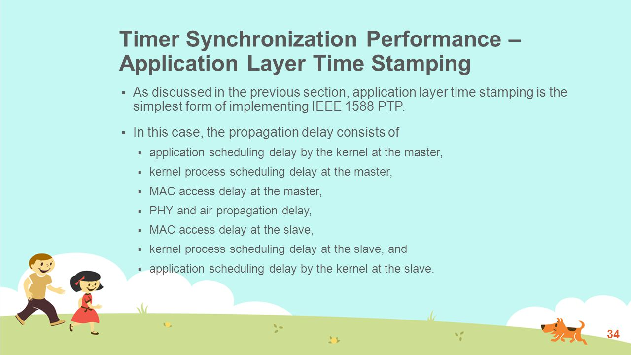Timer Synchronization Performance – Application Layer Time Stamping  As discussed in the previous section, application layer time stamping is the simplest form of implementing IEEE 1588 PTP.
