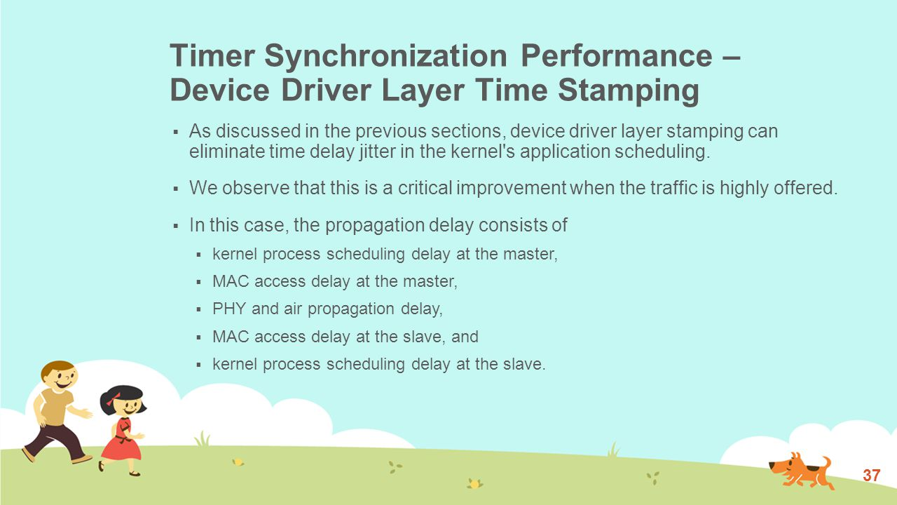 Timer Synchronization Performance – Device Driver Layer Time Stamping  As discussed in the previous sections, device driver layer stamping can eliminate time delay jitter in the kernel s application scheduling.