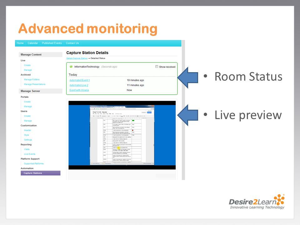 Subtitle www.Desire2Learn.com Advanced monitoring Room Status Live preview