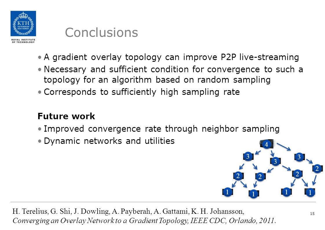Conclusions A gradient overlay topology can improve P2P live-streaming Necessary and sufficient condition for convergence to such a topology for an al