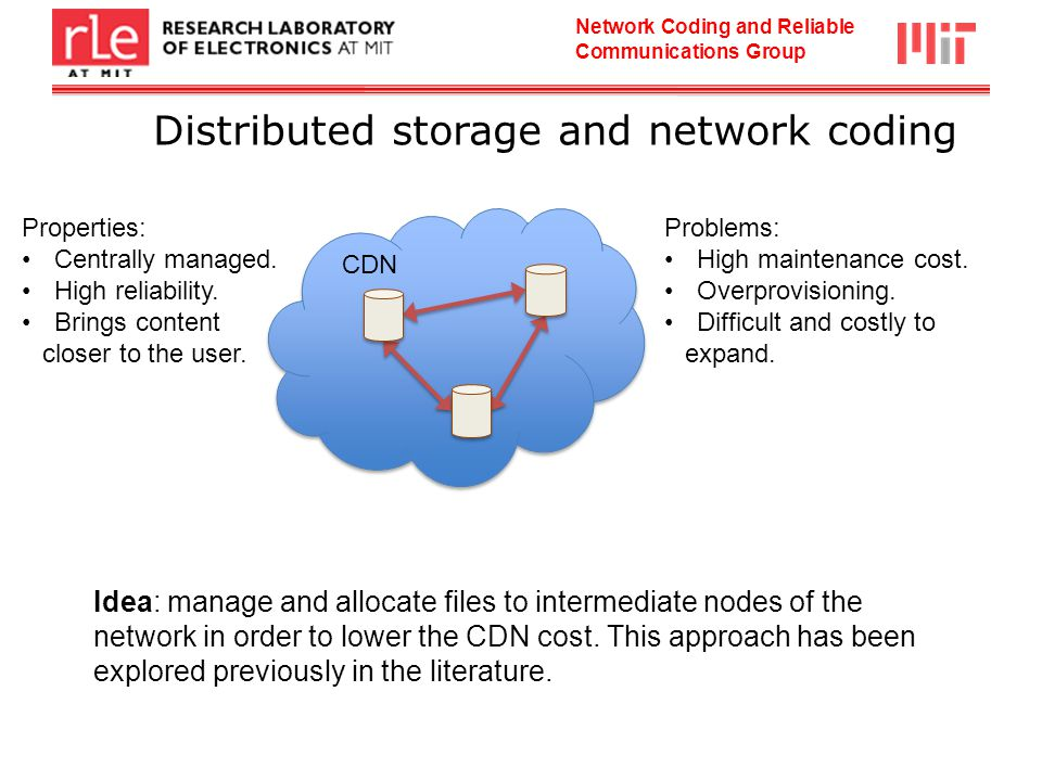 Network Coding and Reliable Communications Group Distributed storage and network coding CDN Properties: Centrally managed.