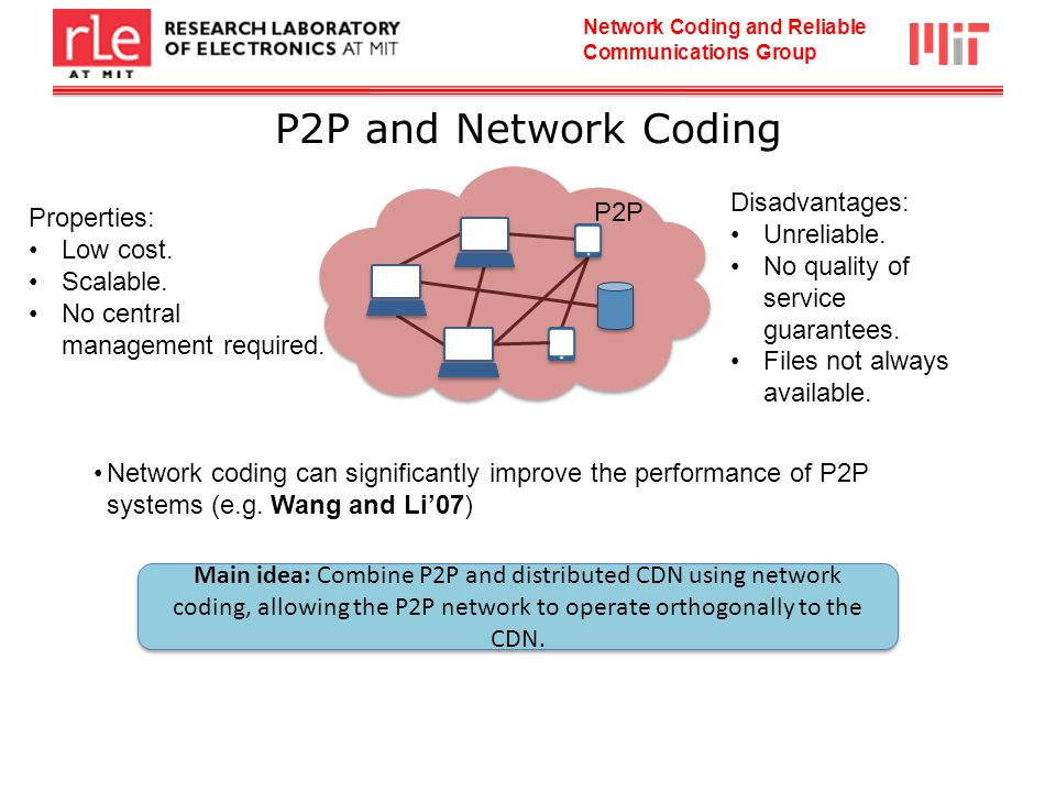 Network Coding and Reliable Communications Group P2P and Network Coding P2P Disadvantages: Unreliable.