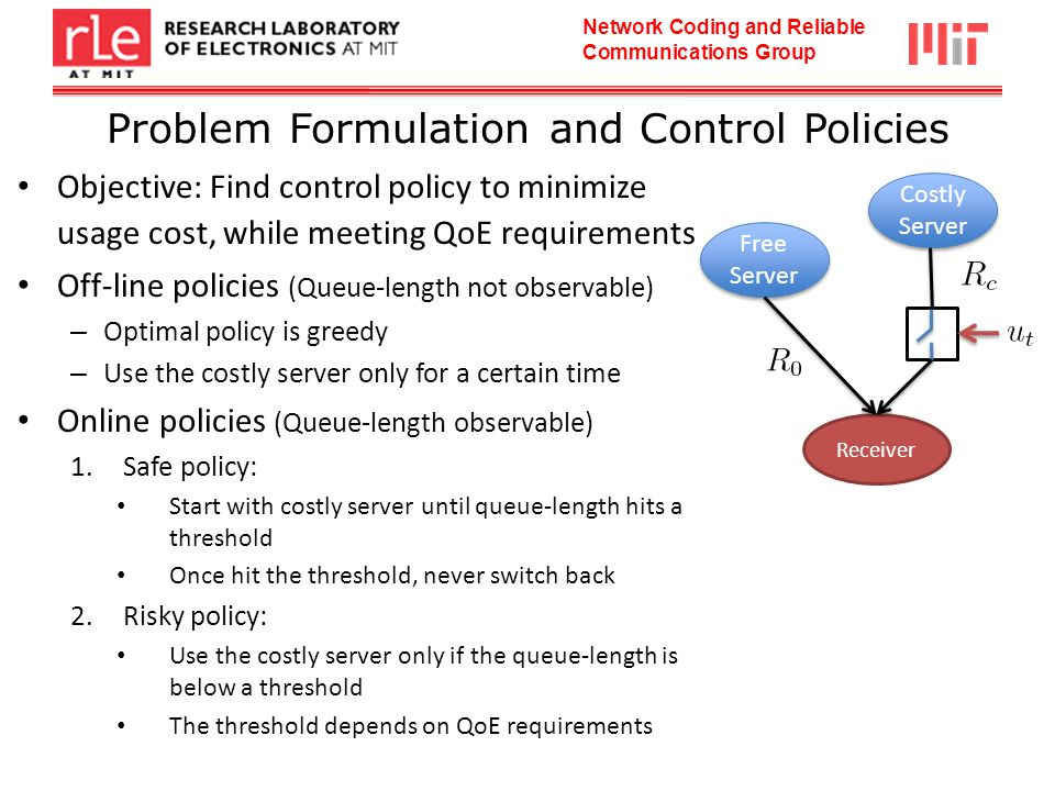Network Coding and Reliable Communications Group Problem Formulation and Control Policies Objective: Find control policy to minimize usage cost, while meeting QoE requirements Off-line policies (Queue-length not observable) – Optimal policy is greedy – Use the costly server only for a certain time Online policies (Queue-length observable) 1.Safe policy: Start with costly server until queue-length hits a threshold Once hit the threshold, never switch back 2.Risky policy: Use the costly server only if the queue-length is below a threshold The threshold depends on QoE requirements Free Server Costly Server Receiver