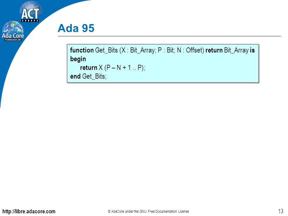 http://libre.adacore.com © AdaCore under the GNU Free Documentation License 13 Ada 95 function Get_Bits (X : Bit_Array; P : Bit; N : Offset) return Bit_Array is begin return X (P – N + 1..
