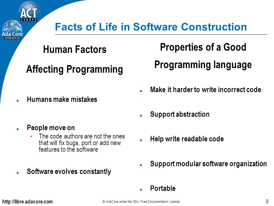 http://libre.adacore.com © AdaCore under the GNU Free Documentation License 8 Facts of Life in Software Construction Human Factors Affecting Programmi