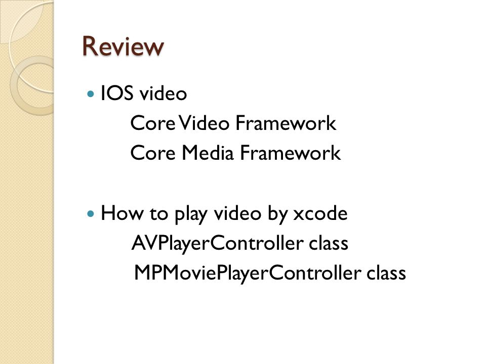 Core Video Framework As the name implies, this framework is used for video processing and is primarily responsible for providing video buffering support.