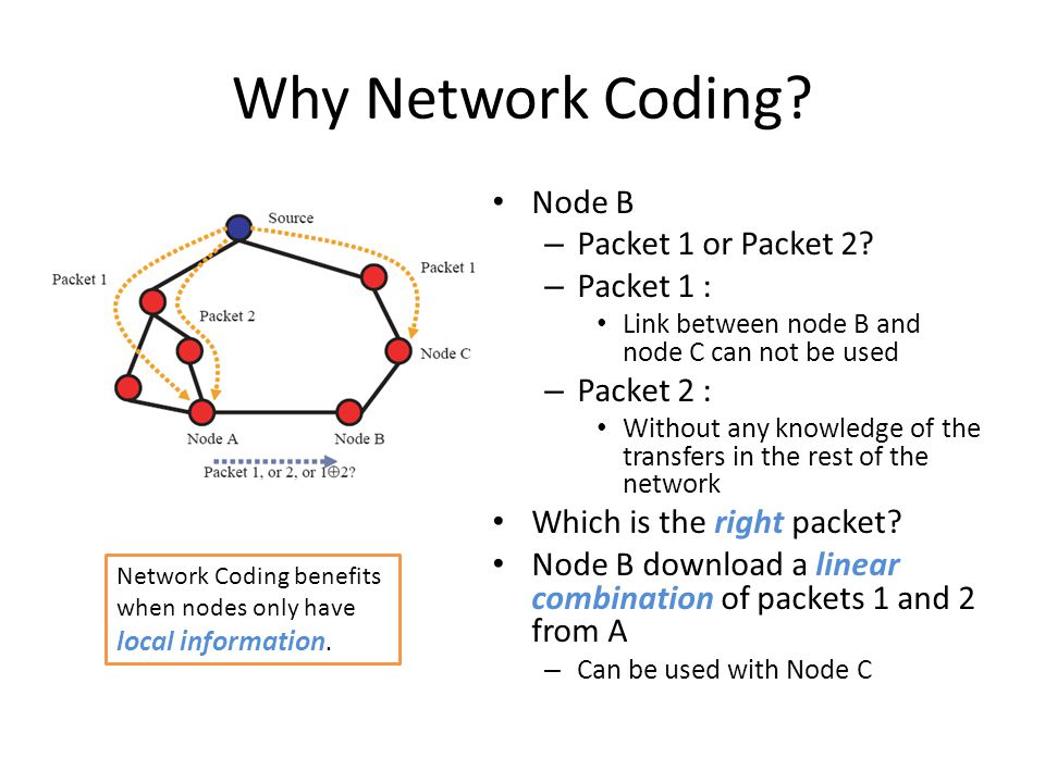 Why Network Coding. Node B – Packet 1 or Packet 2.