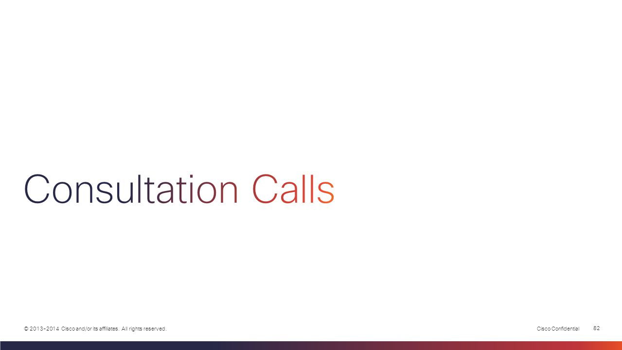 Cisco Confidential 81 © 2013-2014 Cisco and/or its affiliates. All rights reserved. PSTN Integrated App Integrated App Call Flow RTP Stream Call Signa