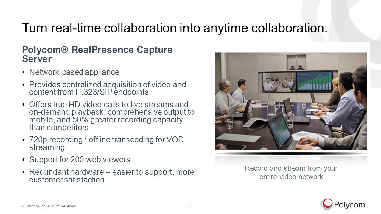 © Polycom, Inc. All rights reserved.10 Turn real-time collaboration into anytime collaboration. Polycom® RealPresence Capture Server Network-based app