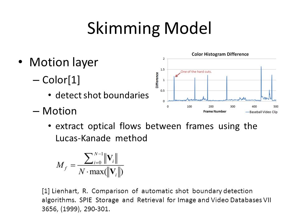 Skimming Model Motion layer – Color[1] detect shot boundaries – Motion extract optical flows between frames using the Lucas-Kanade method [1] Lienhart, R.