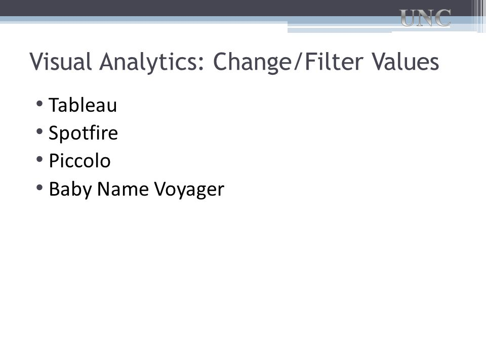 Visual Analytics: Change/Filter Values Tableau Spotfire Piccolo Baby Name Voyager