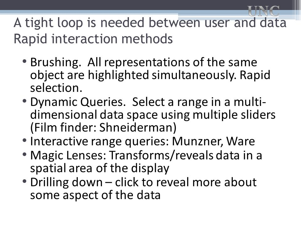 A tight loop is needed between user and data Rapid interaction methods Brushing.