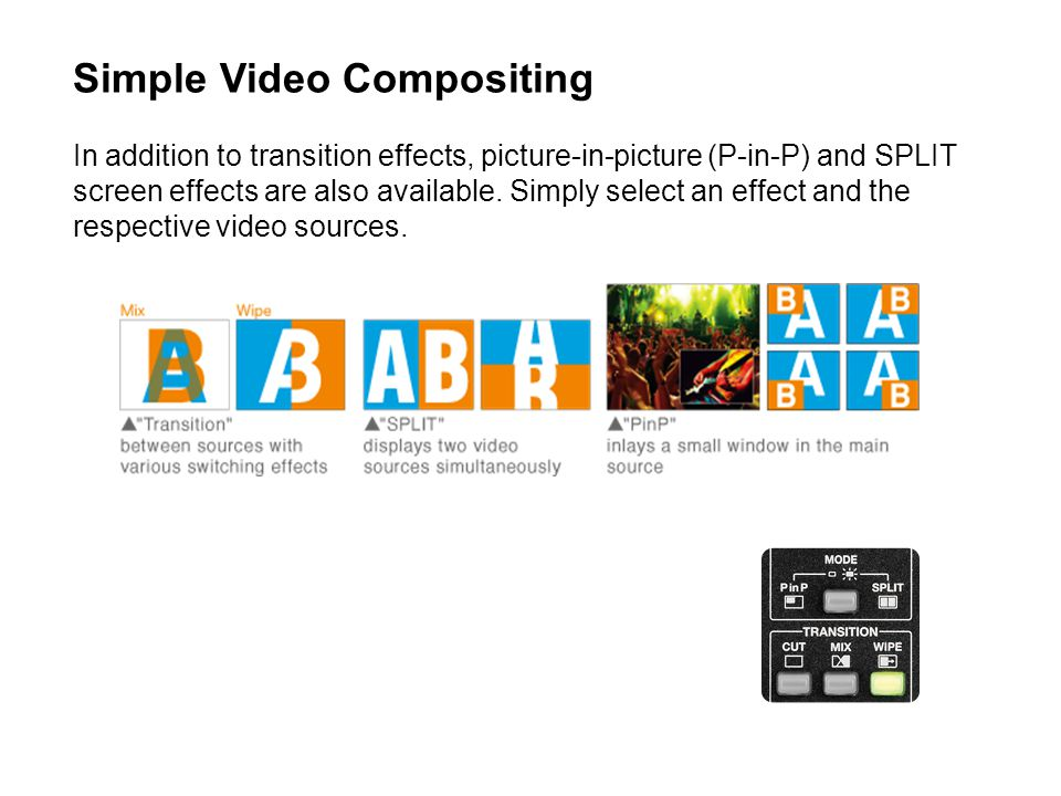 Simple Video Compositing In addition to transition effects, picture-in-picture (P-in-P) and SPLIT screen effects are also available.