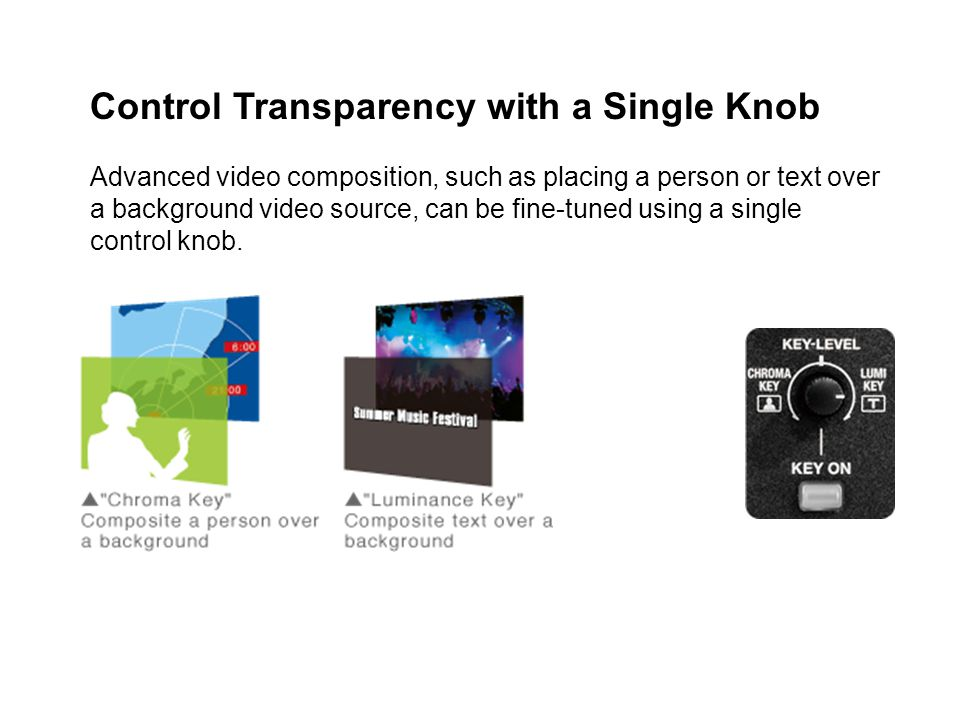 Control Transparency with a Single Knob Advanced video composition, such as placing a person or text over a background video source, can be fine-tuned