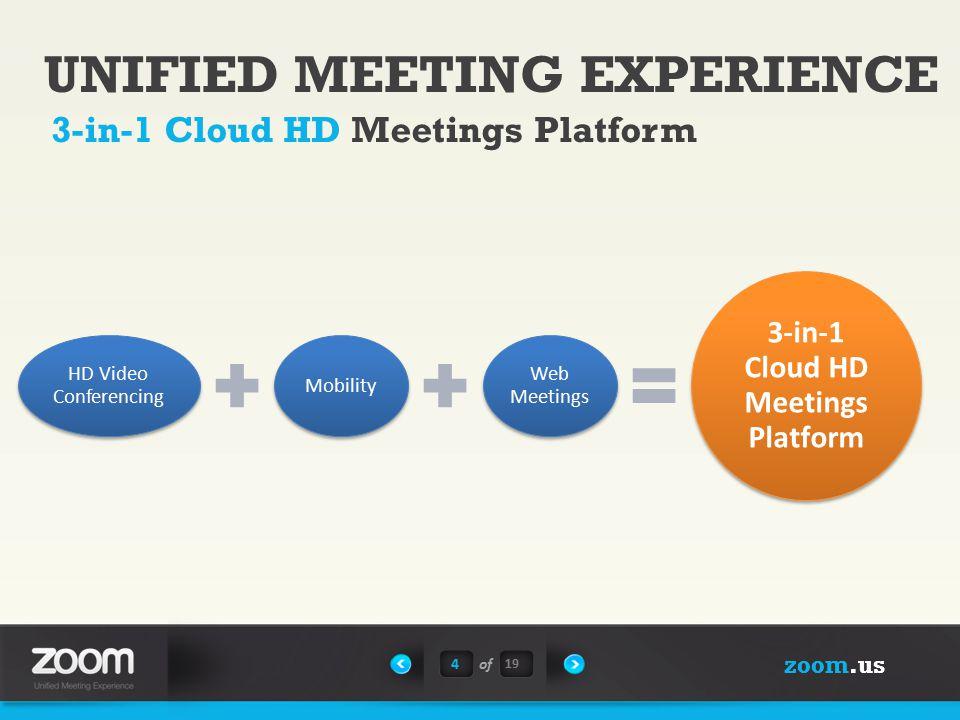 zoom.us UNIFIED MEETING EXPERIENCE 3-in-1 Cloud HD Meetings Platform 4of HD Video Conferencing Mobility Web Meetings 3-in-1 Cloud HD Meetings Platform 19