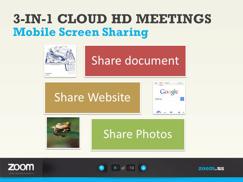 zoom.us 9of 19 Mobile Screen Sharing Share document Share Website Share Photos 3-IN-1 CLOUD HD MEETINGS