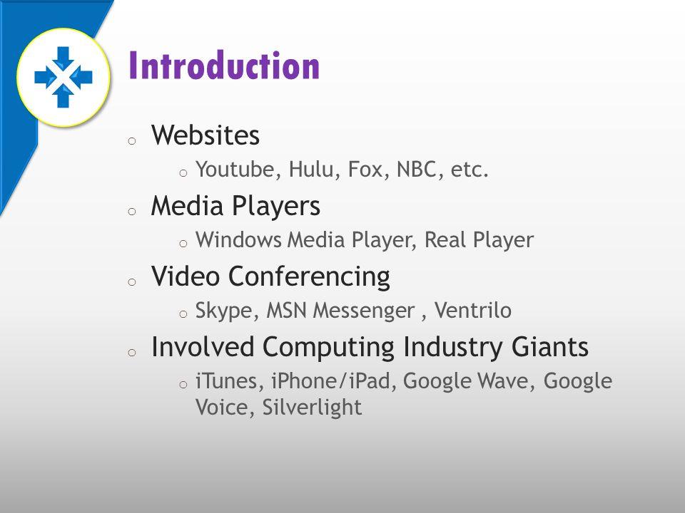 o Websites o Youtube, Hulu, Fox, NBC, etc.