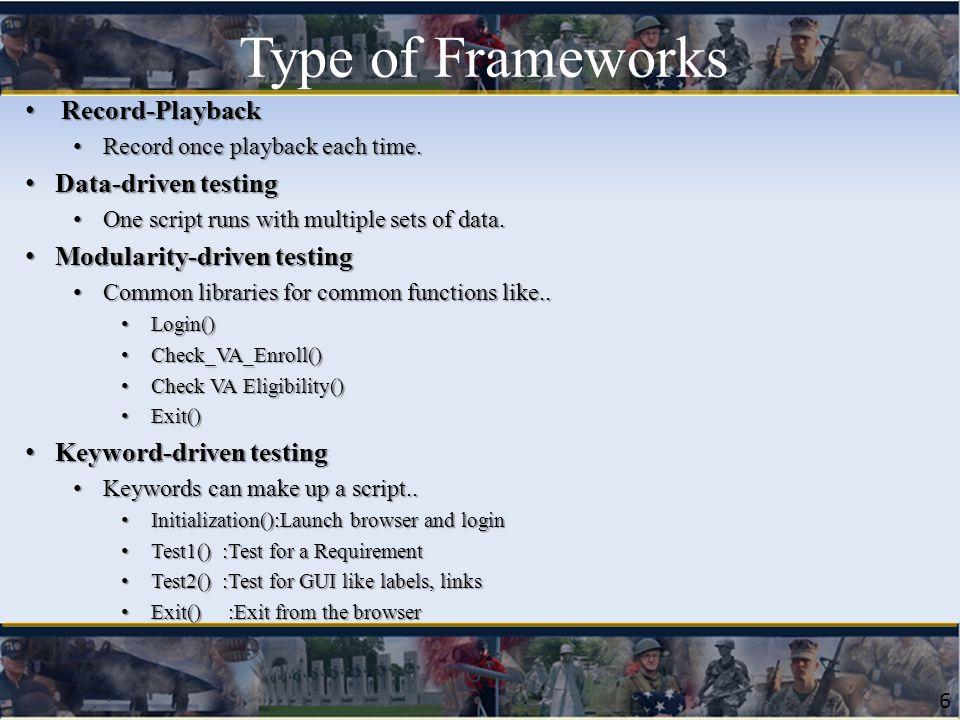 6 Record-Playback Record-Playback Record once playback each time. Record once playback each time. Data-driven testing Data-driven testing One script r