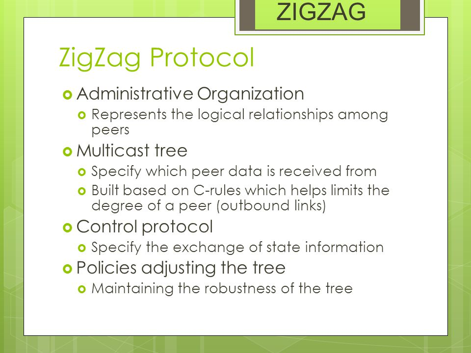 ZigZag Protocol  Administrative Organization  Represents the logical relationships among peers  Multicast tree  Specify which peer data is receive