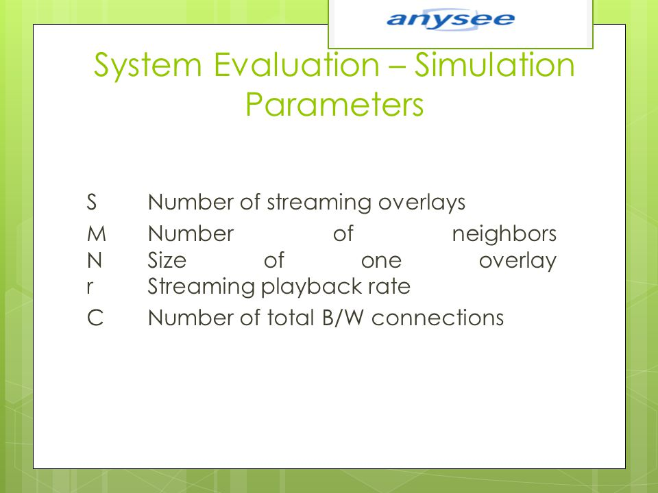 System Evaluation – Simulation Parameters S Number of streaming overlays M Number of neighbors N Size of one overlay r Streaming playback rate C Numbe