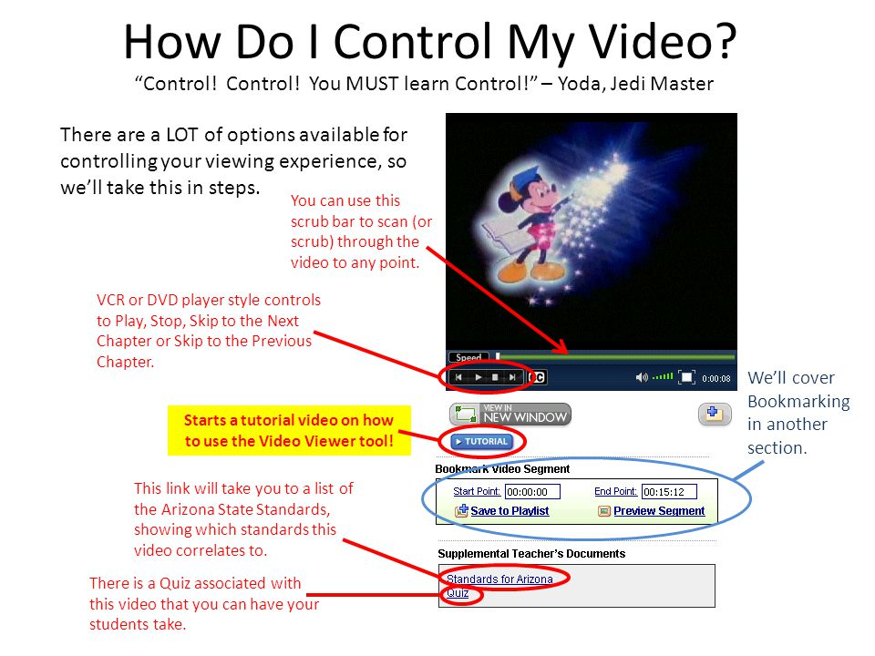 """How Do I Control My Video? """"Control! Control! You MUST learn Control!"""" – Yoda, Jedi Master There are a LOT of options available for controlling your v"""