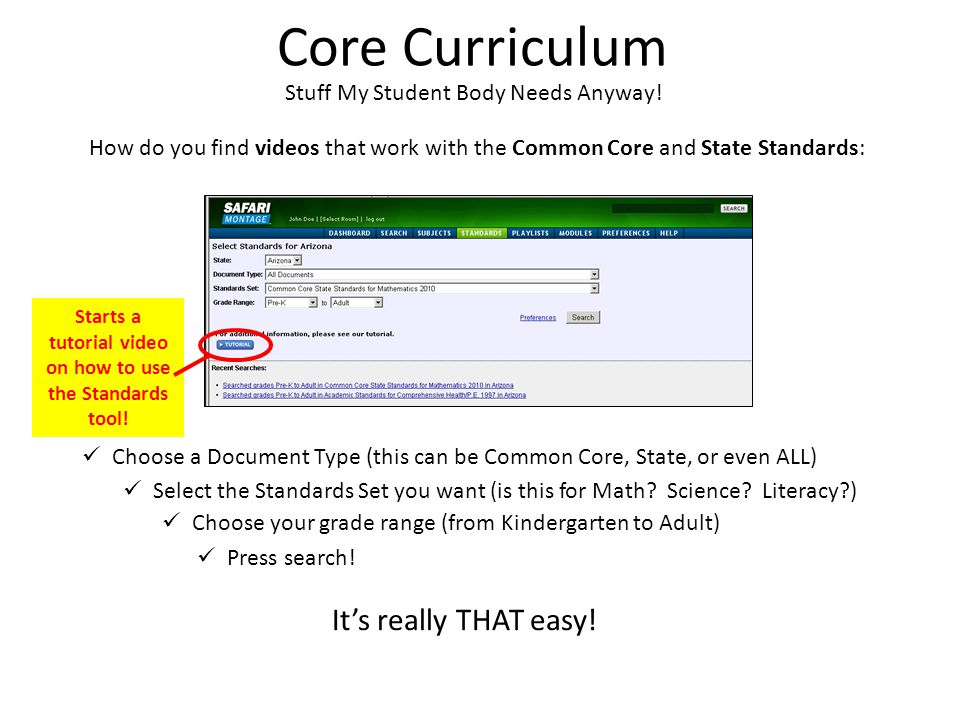 Core Curriculum Stuff My Student Body Needs Anyway! How do you find videos that work with the Common Core and State Standards: It's really THAT easy!