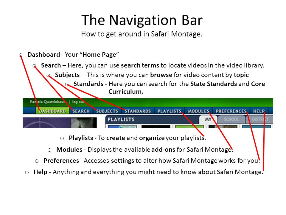 """The Navigation Bar How to get around in Safari Montage. o Dashboard - Your """"Home Page"""" o Search – Here, you can use search terms to locate videos in t"""