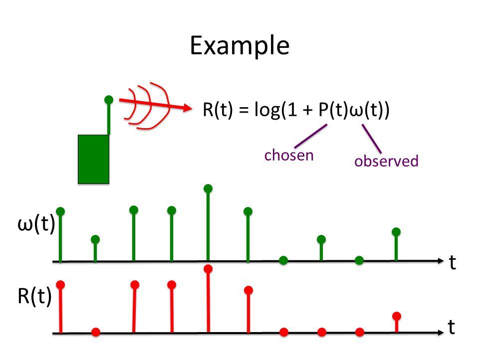 Example R(t) = log(1 + P(t)ω(t)) observed chosen t ω(t) t R(t)